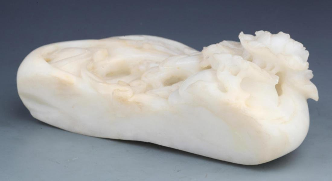 A RARE AND FINELY CARVED WHITE JADE DECORATION - 7