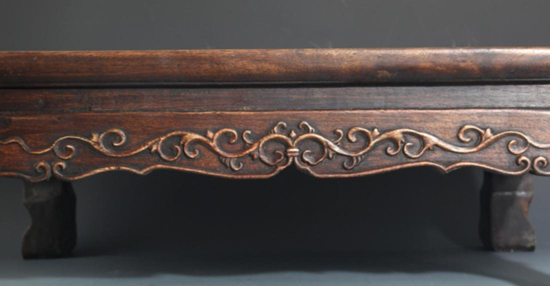 A FINELY CARVED REDWOOD BED-TABLE - 3