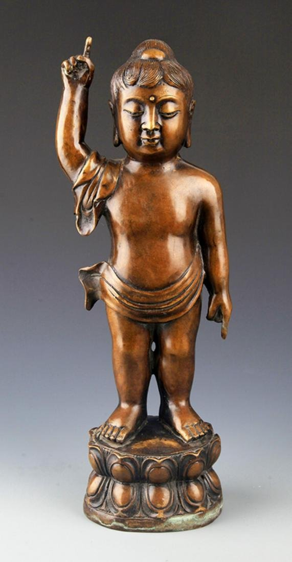 A TALL AND FINELY CARVED BRONZE BUDDHA