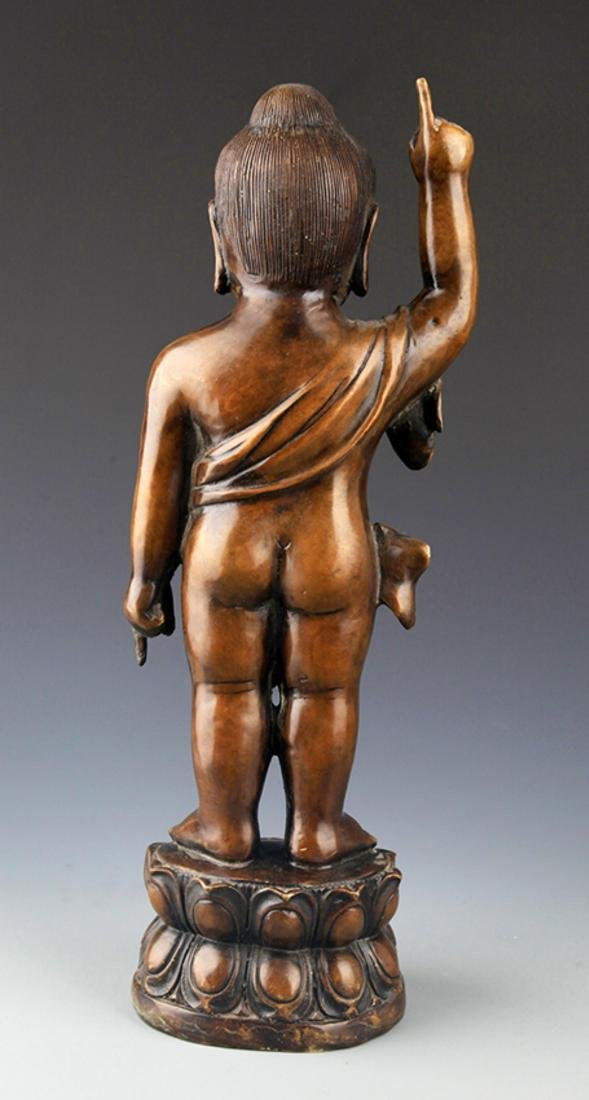 A TALL AND FINELY CARVED BRONZE BUDDHA - 5