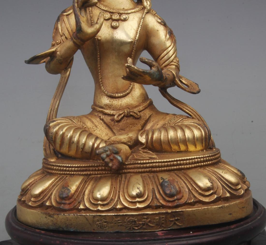 A REAR GILT BRONZE TREASURE BUDDHA FIGURE - 3