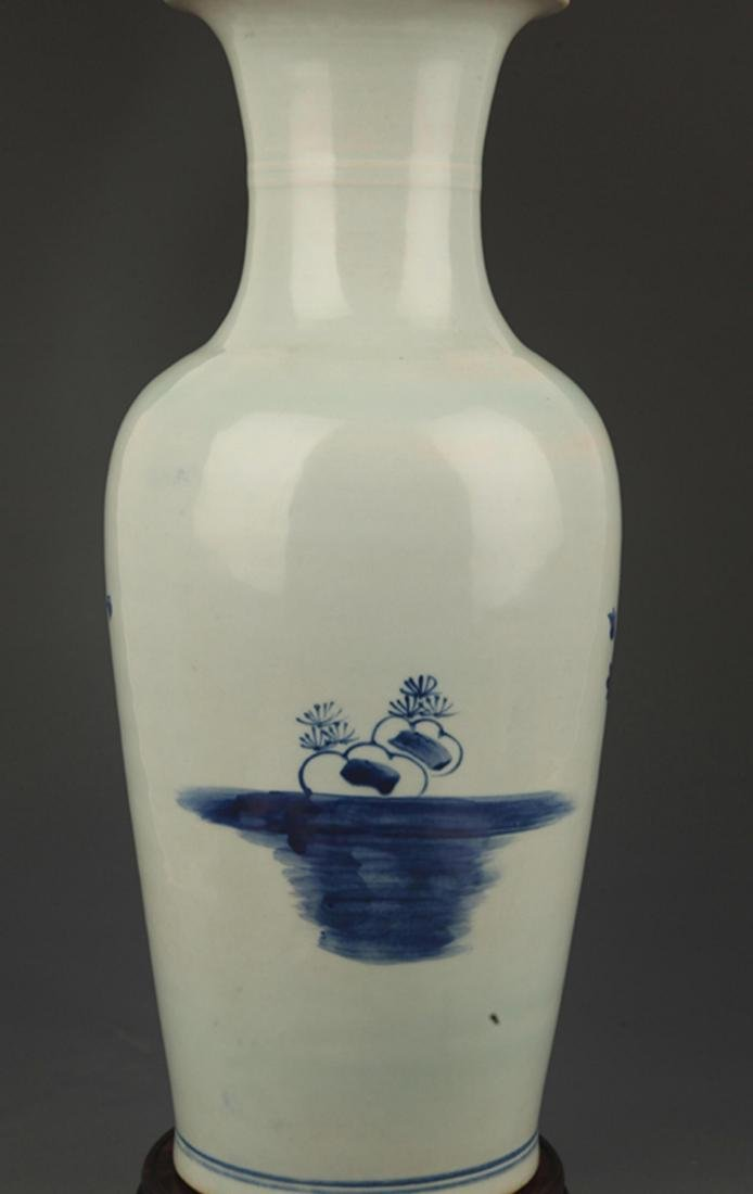 BLUE AND WHITE PEONY FLOWER PAINTED PORCELAIN VASE - 4
