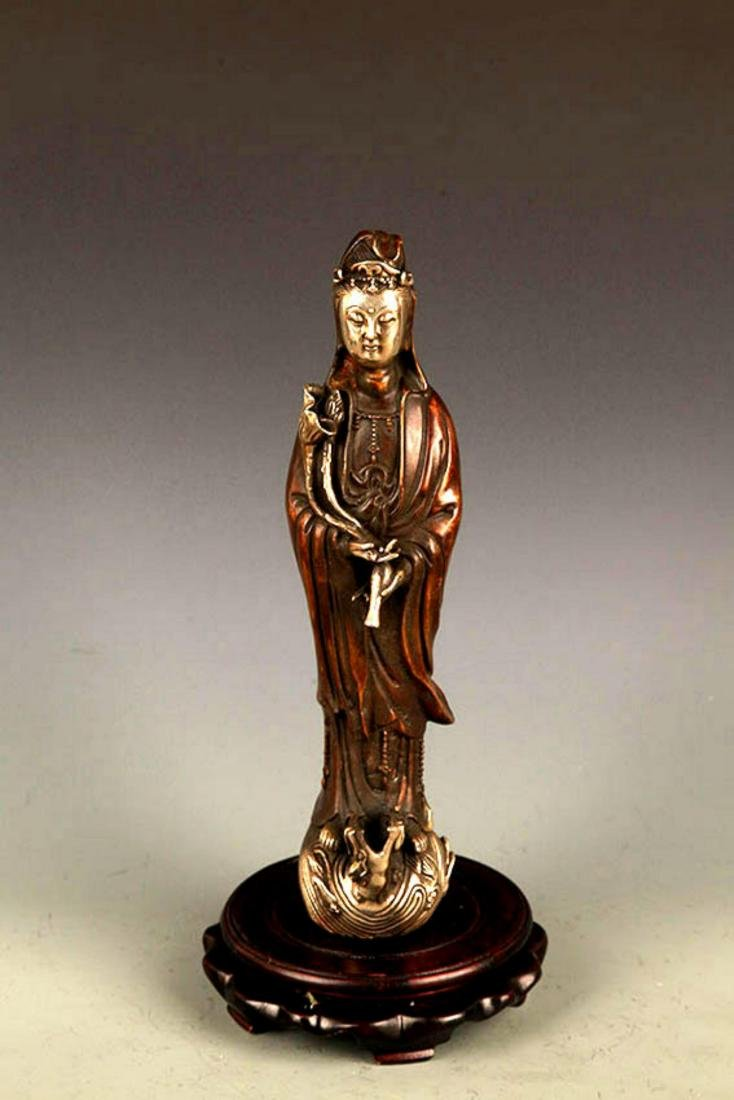 """A FINELY MADE """"GUAN YIN WITH BOTTLE"""" FIGURE"""