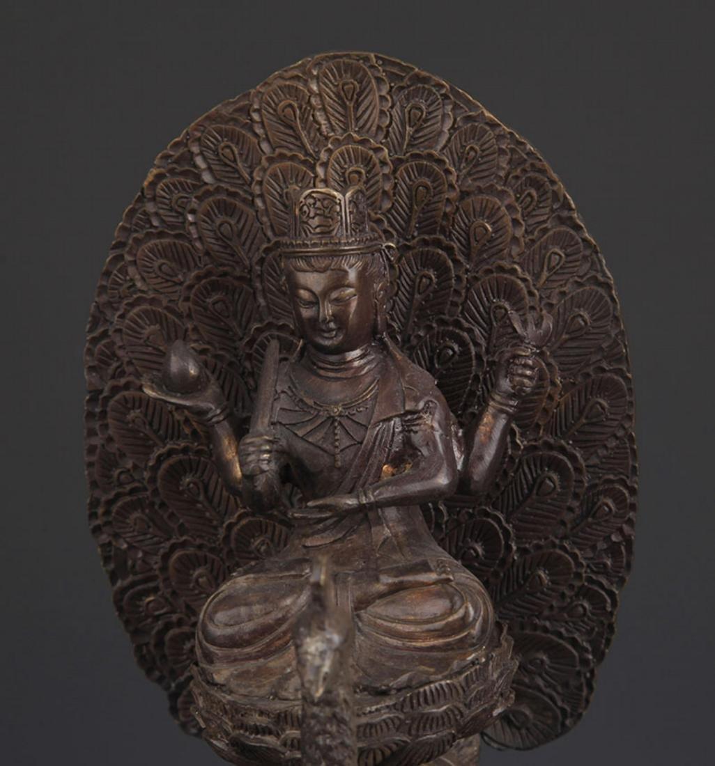 BRONZE TIBETAN BUDDHISM MAHAMAYURI FIGURE - 2