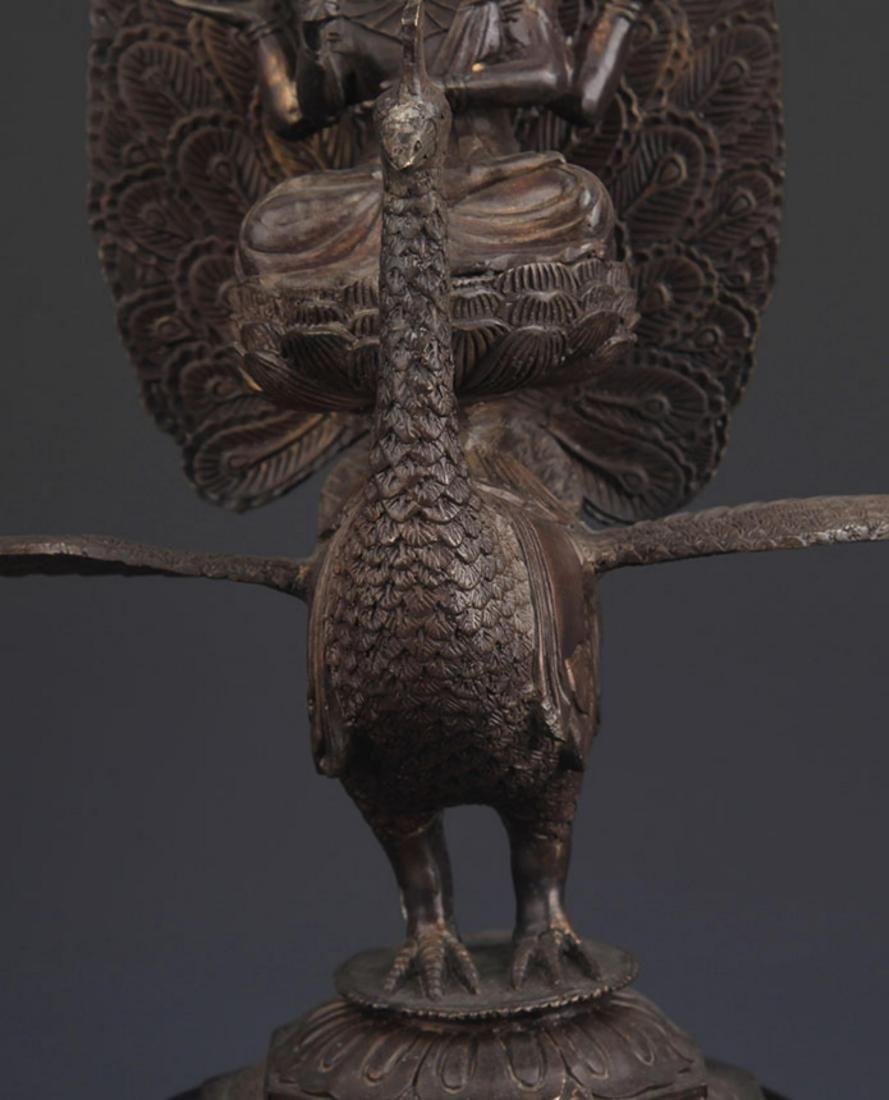 BRONZE TIBETAN BUDDHISM MAHAMAYURI FIGURE - 3