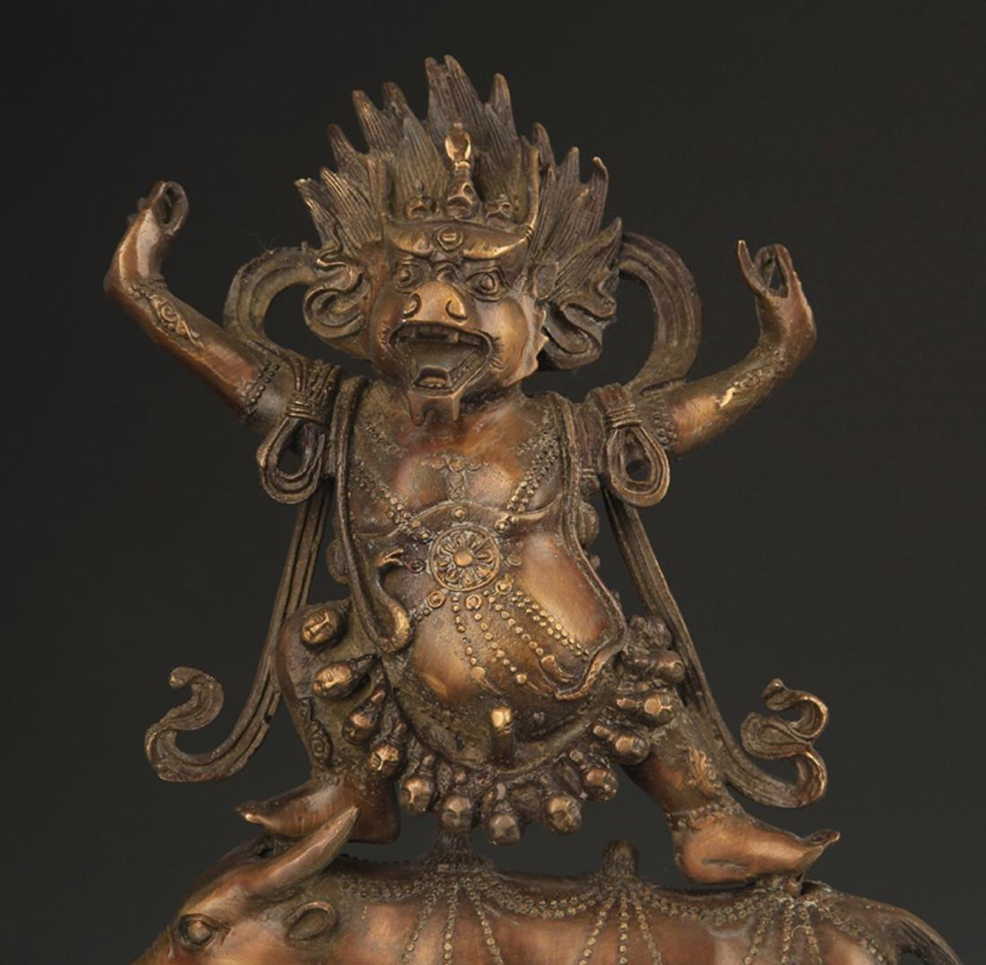 A TIBETAN BUDDHISM BRONZE RED DROP ENMA STATUE - 2