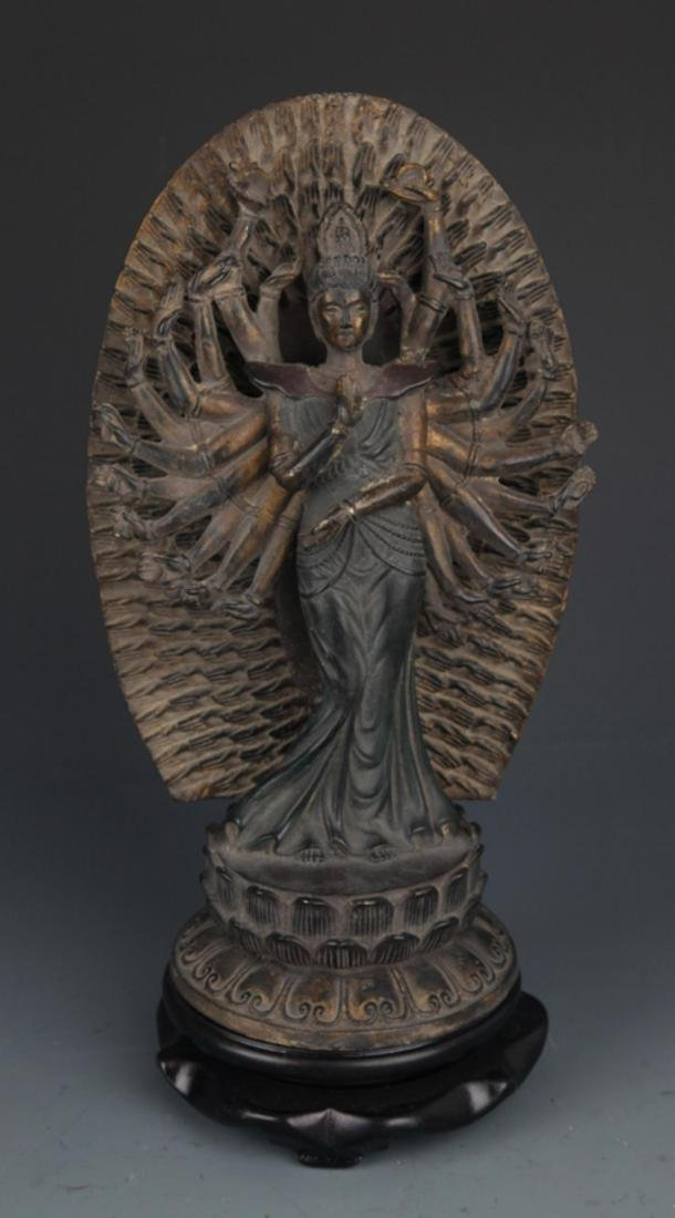 A FINELY CARVED THOUSAND HAND GUAN YIN BUDDHA