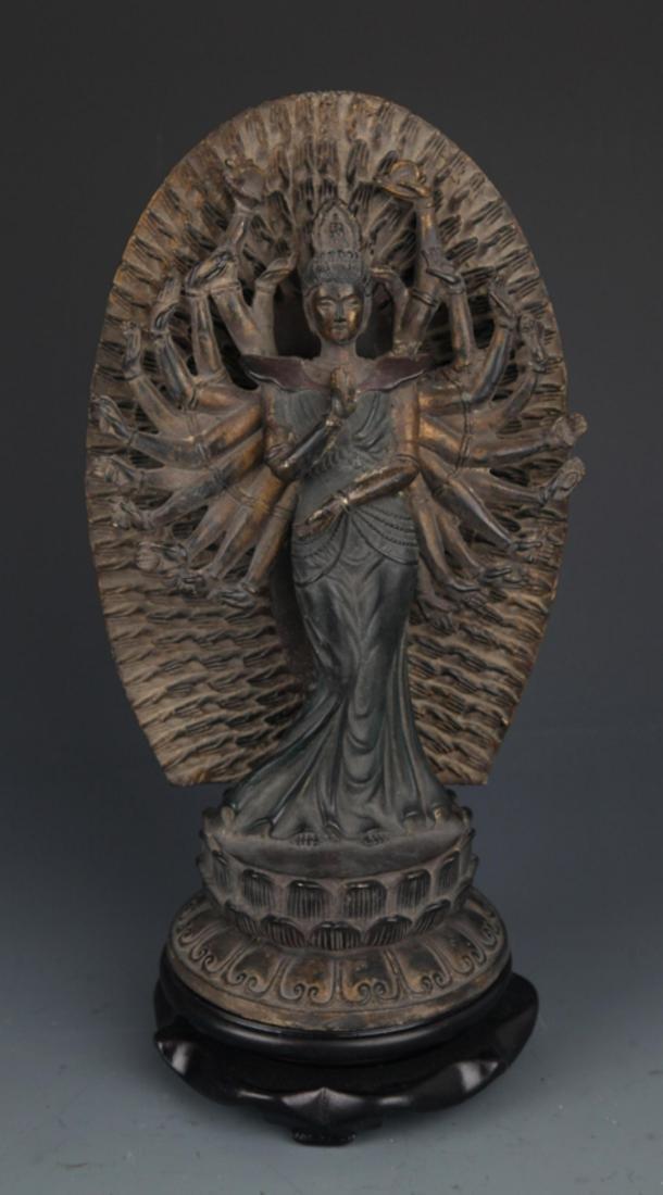 A FINELY CARVED THOUSAND HAND GUAN YIN BUDDHA