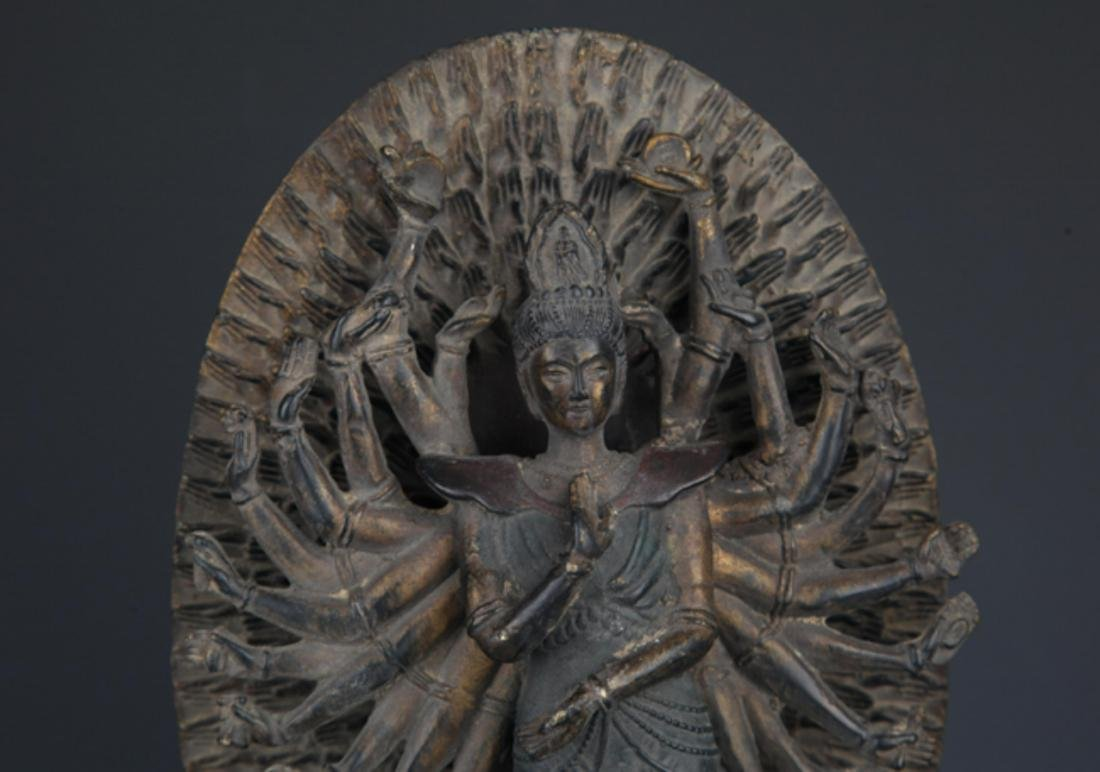 A FINELY CARVED THOUSAND HAND GUAN YIN BUDDHA - 2