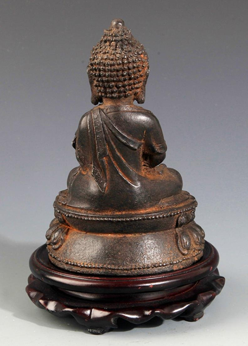 A FINELY CARVED IRON MADE AKSHOBHYA BUDDHA - 4
