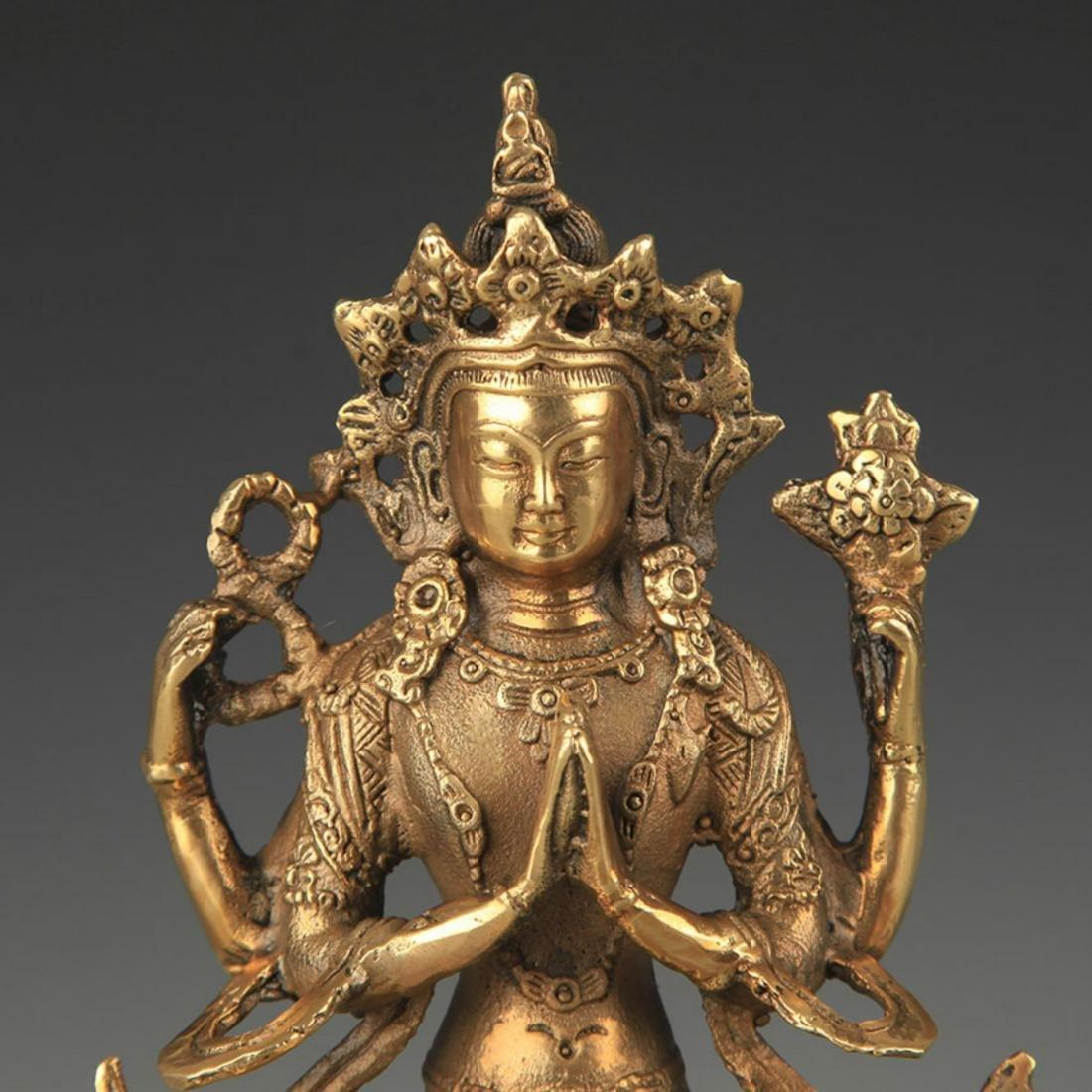 TIBETAN BUDDHISM BRONZE FOUR ARM GUAN YIN STATUE - 2