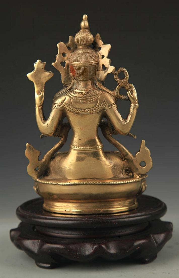 TIBETAN BUDDHISM BRONZE FOUR ARM GUAN YIN STATUE - 4