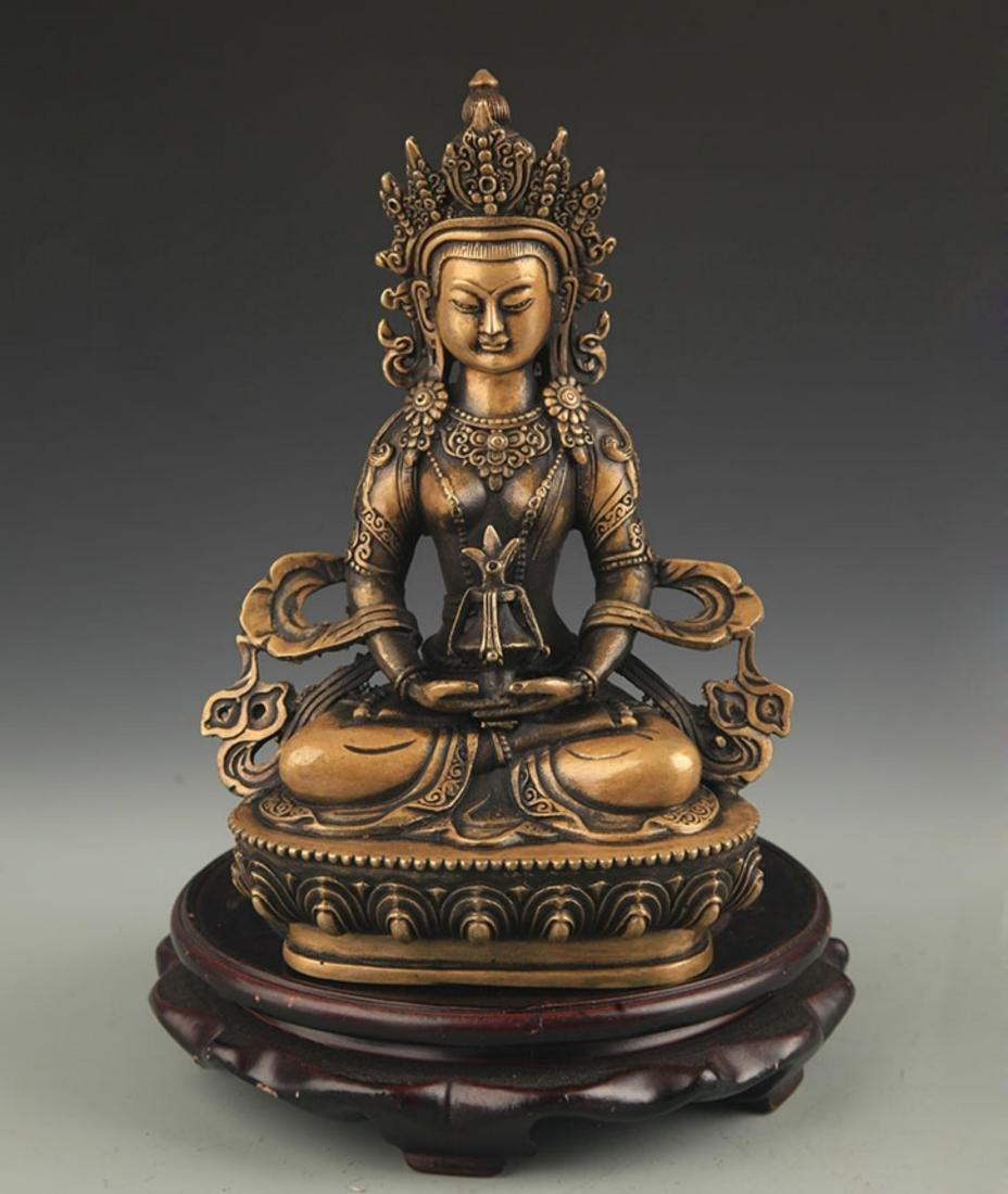 FINE TIBETAN BUDDHISM AMITAYUS STATUE