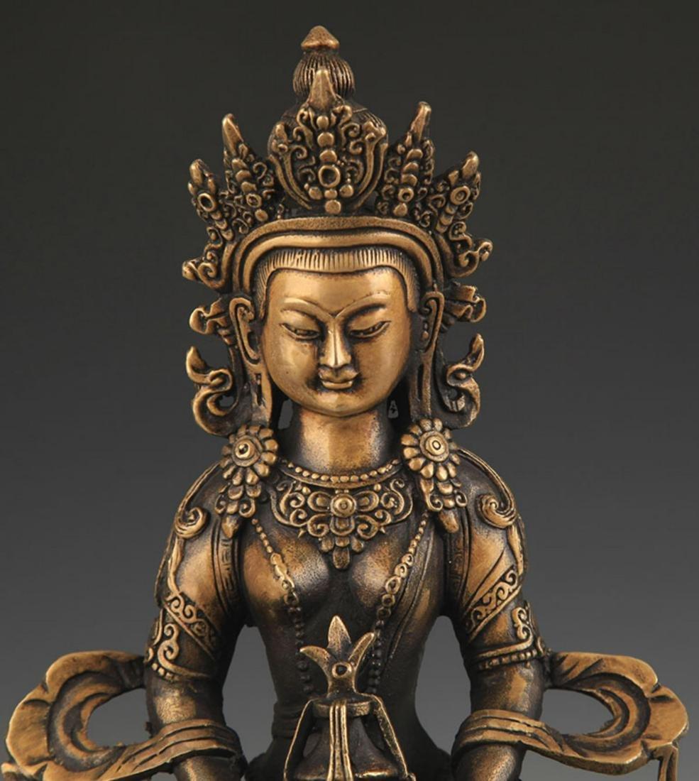 FINE TIBETAN BUDDHISM AMITAYUS STATUE - 3