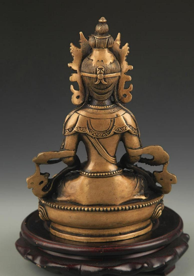 FINE TIBETAN BUDDHISM AMITAYUS STATUE - 5
