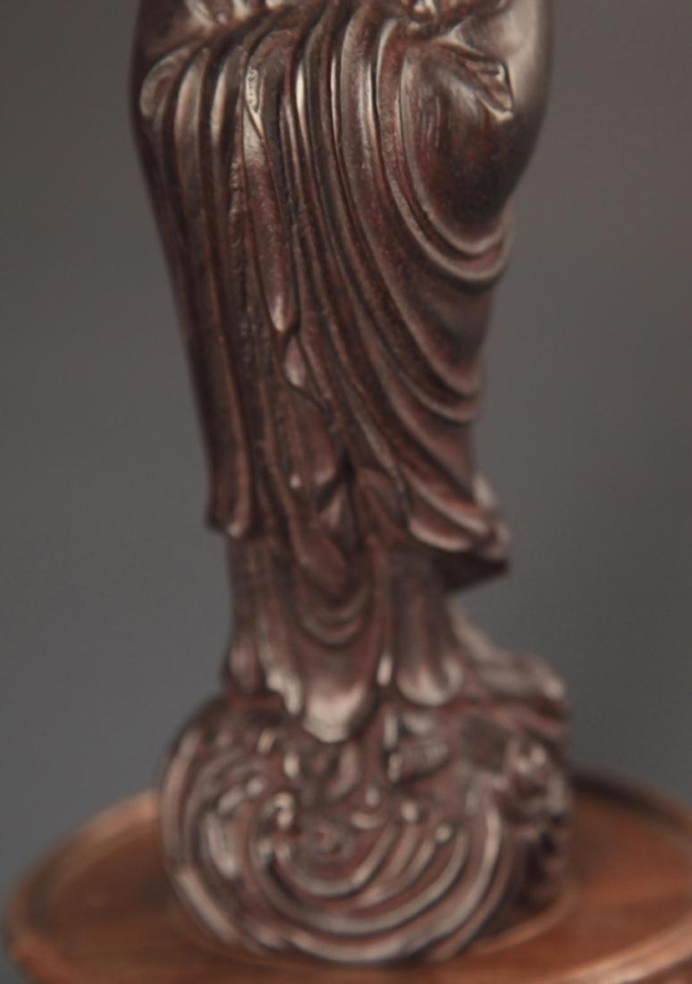 A FINE BLACK HARDWOOD STATUE IN FIGURE OF BODHIDHARMA - 3