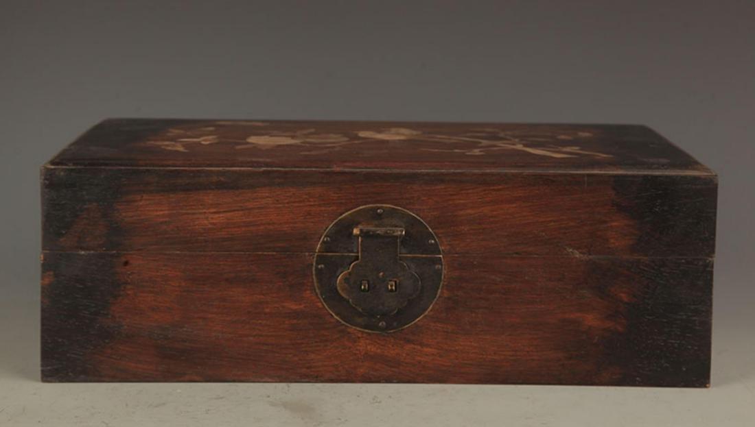 A FINE HUA LI MU WOODEN BOX INLAY WITH SEA SHELL