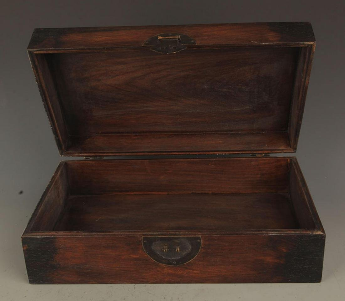 A FINE HUA LI MU WOODEN BOX INLAY WITH SEA SHELL - 4