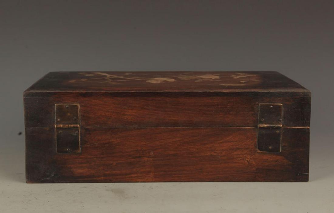 A FINE HUA LI MU WOODEN BOX INLAY WITH SEA SHELL - 5