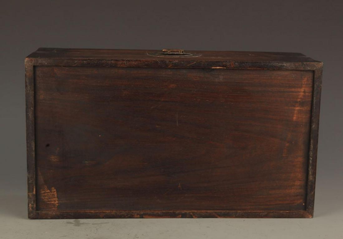 A FINE HUA LI MU WOODEN BOX INLAY WITH SEA SHELL - 6
