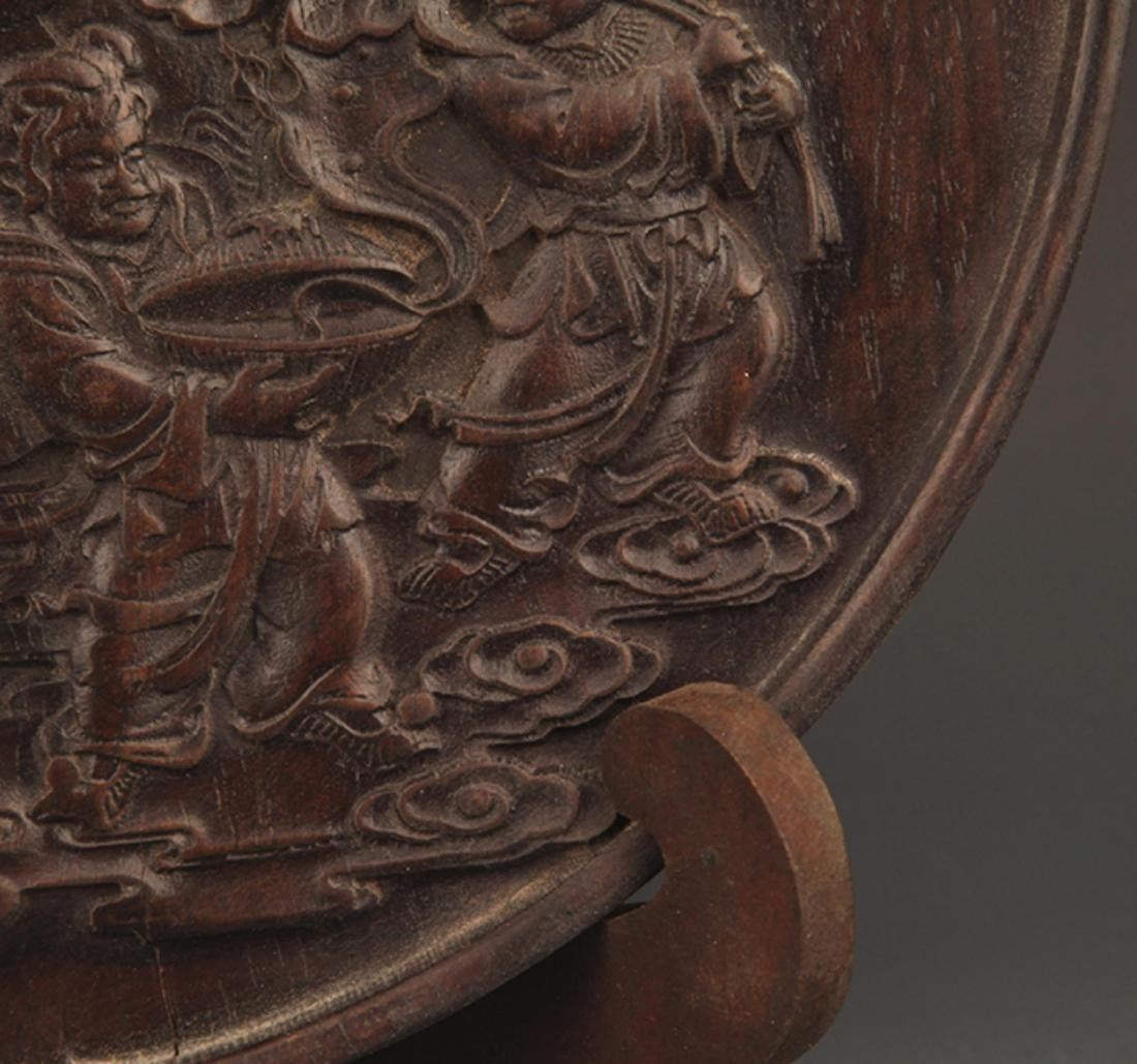 A GOD OF WEALTH CARVING XIAO YE ZI TAN PLATE - 4
