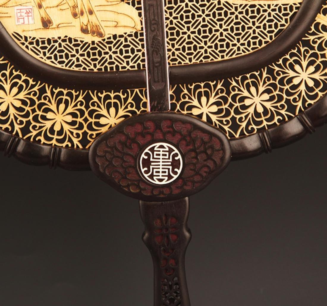 A VERY DETAIL CARVING XIAO YE ZI TAN FAN - 8