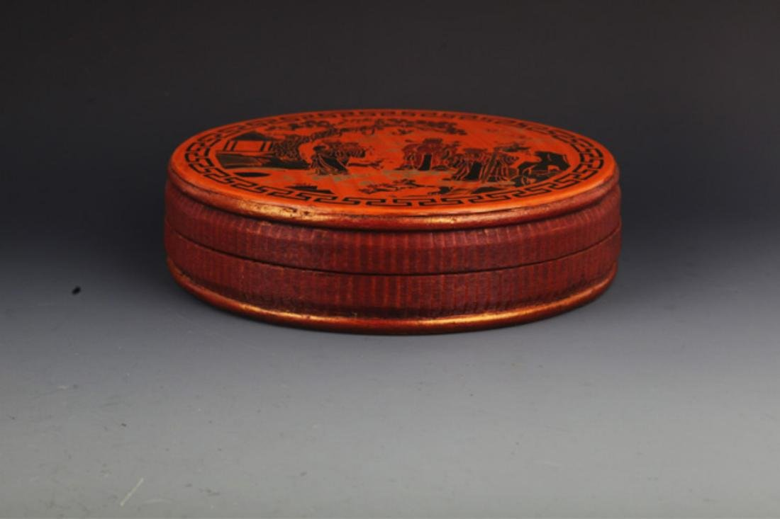 A FINE GILT ROUND WOODEN FOOD CONTAINER - 2