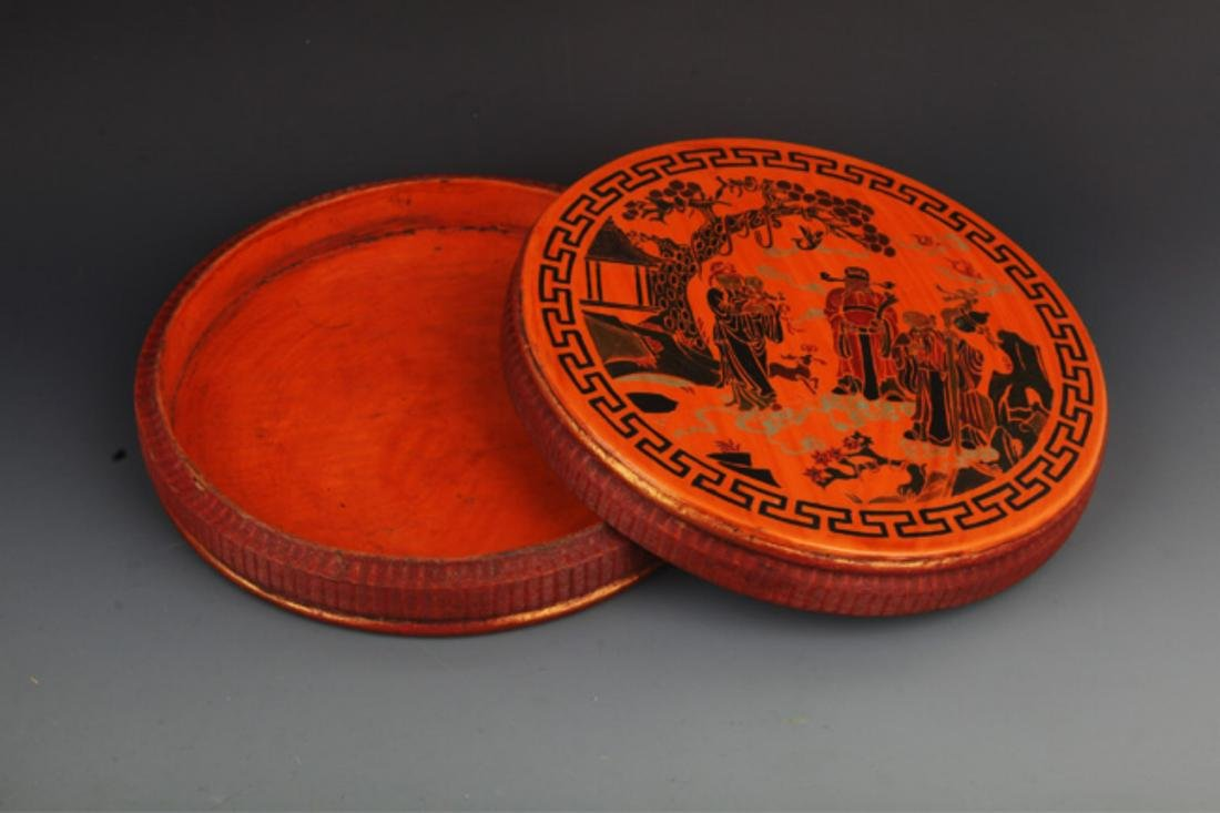 A FINE GILT ROUND WOODEN FOOD CONTAINER - 5