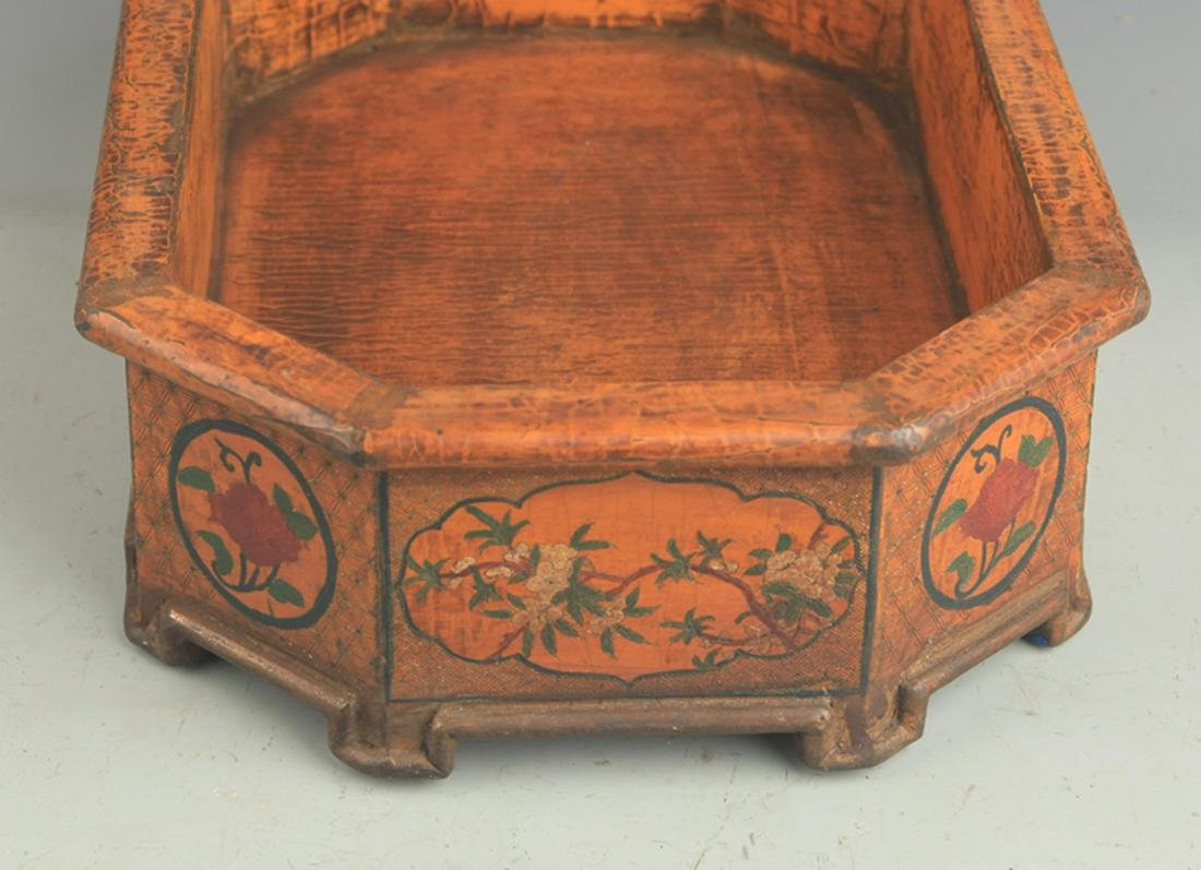 A CHINESE LACQUER FLOWER PAINTED FLOWER POT - 3