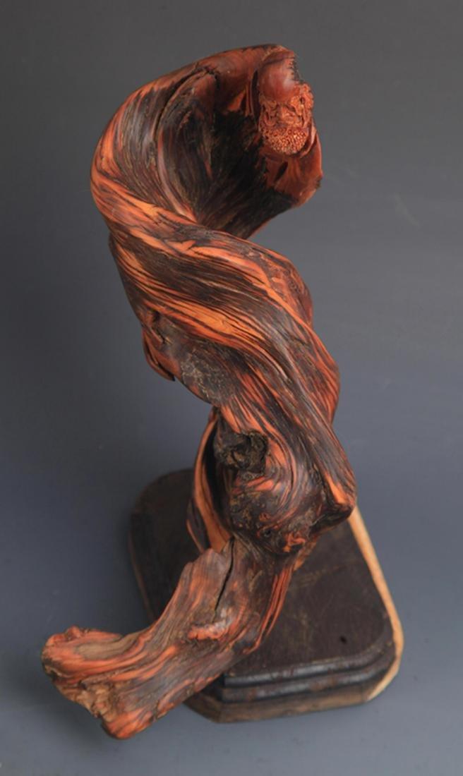 A FINE CYPRESS TREE BODHIDHARMA FIGURE DECORATION - 2