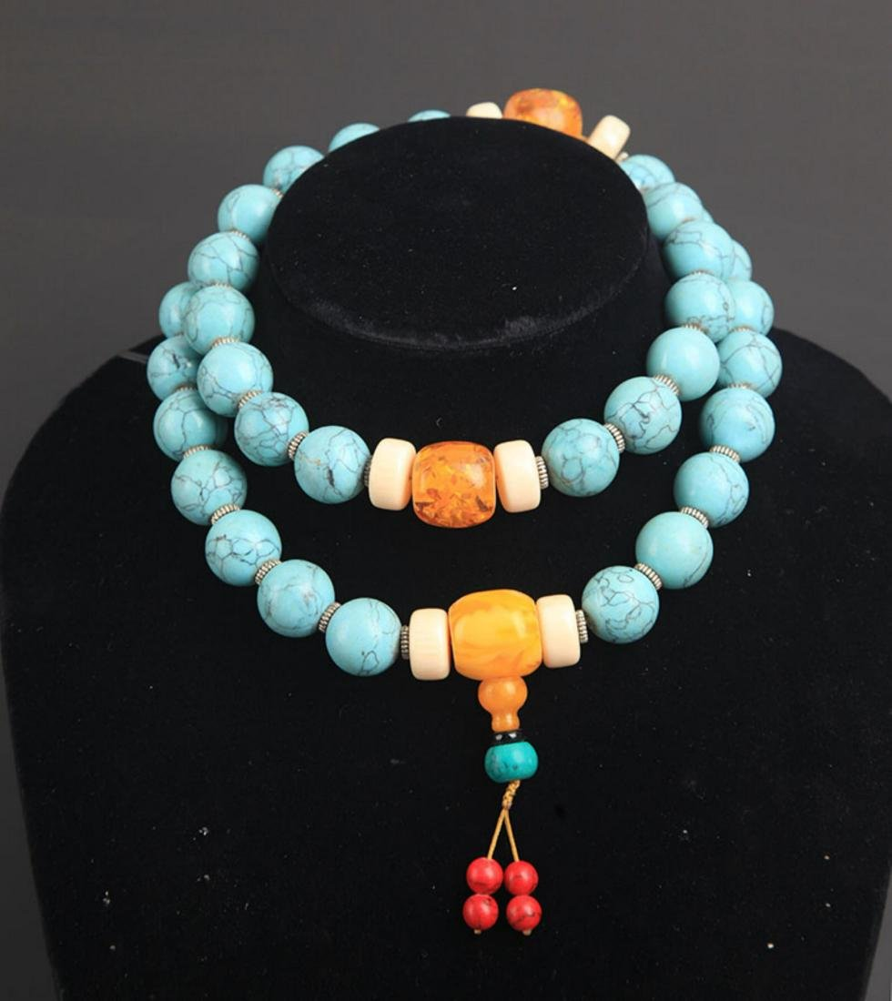 A TURQUOISE WITH AMBER NECKLACE