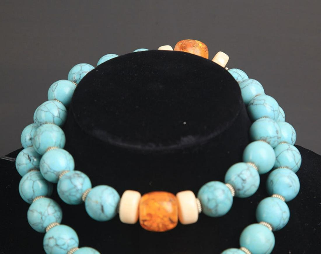 A TURQUOISE WITH AMBER NECKLACE - 2