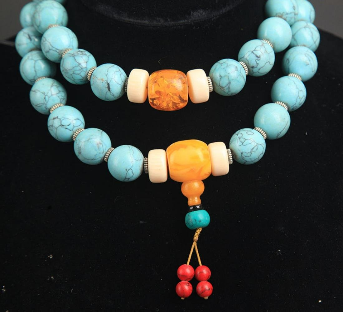 A TURQUOISE WITH AMBER NECKLACE - 3