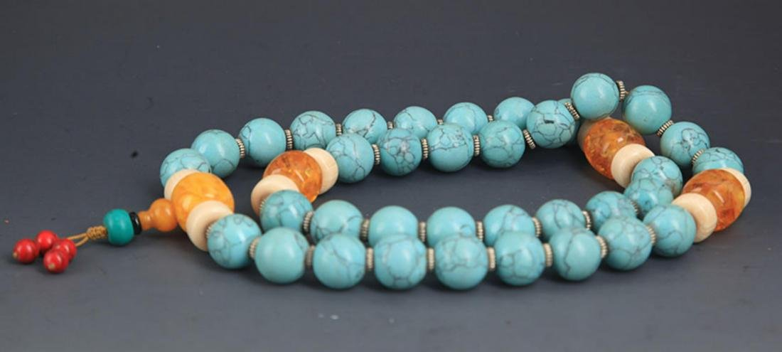 A TURQUOISE WITH AMBER NECKLACE - 4