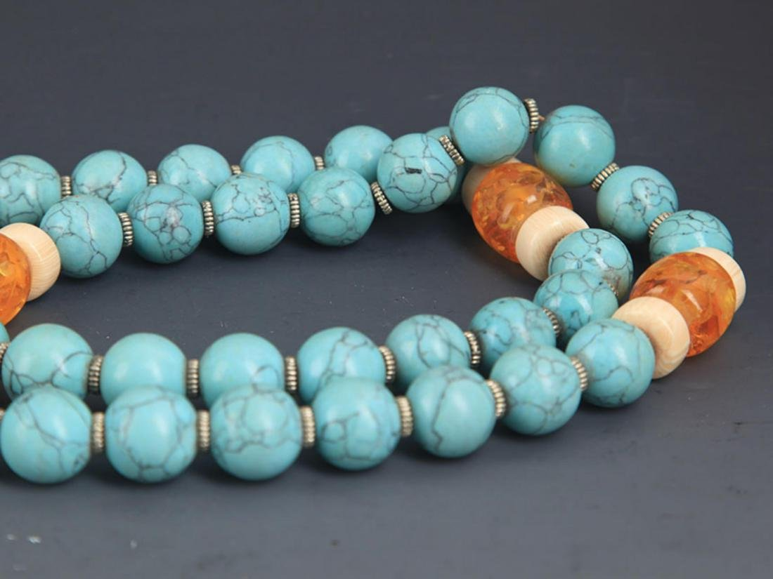 A TURQUOISE WITH AMBER NECKLACE - 5