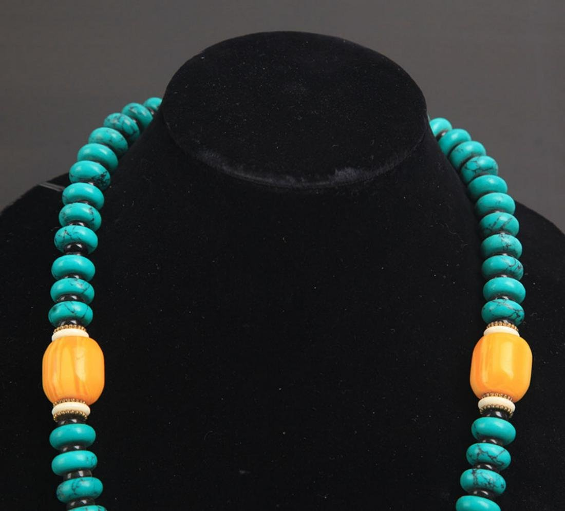 A TURQUOISE WITH BEESWAX NECKLACE - 2