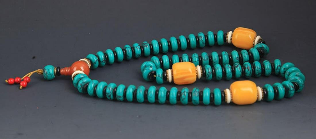 A TURQUOISE WITH BEESWAX NECKLACE - 5