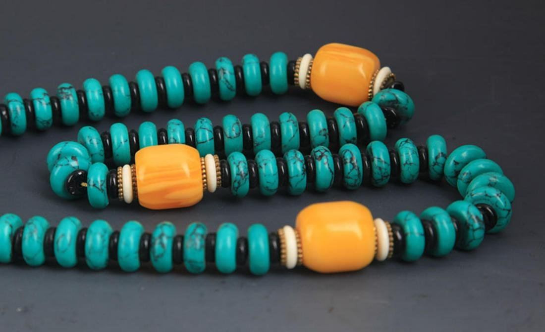 A TURQUOISE WITH BEESWAX NECKLACE - 6