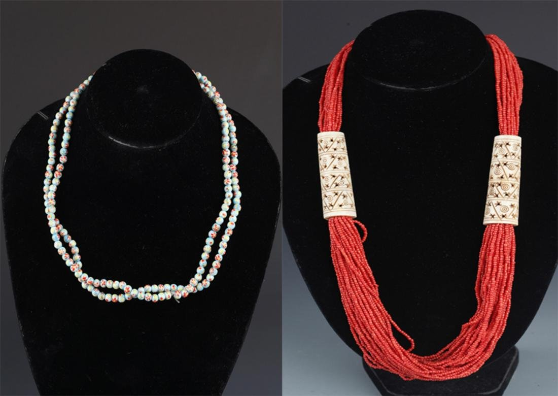 GROUP OF TWO OLD CHINESE NECKLACE