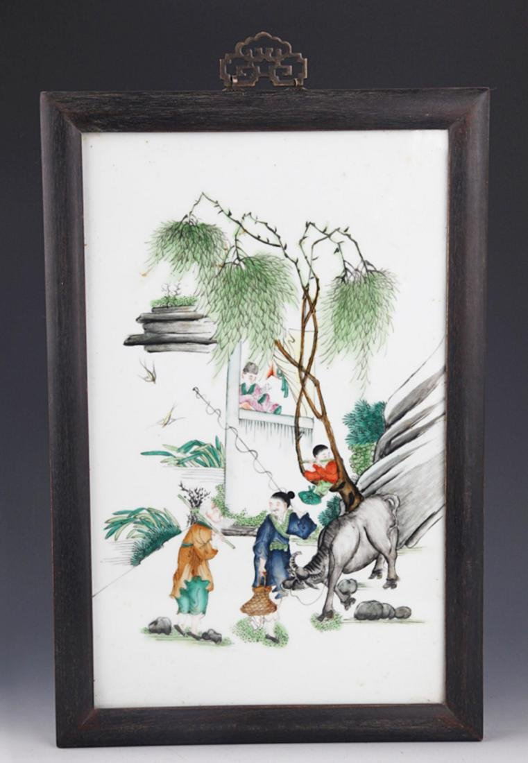 A FINE PORCELAIN PAINTING WITH ZI TAN FRAME
