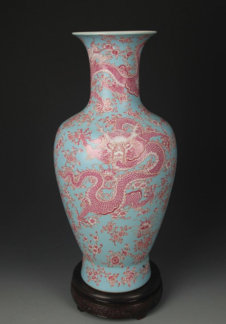 TURQUOISE GROUND FAMILLE ROSE DRAGON PAINTED VASE