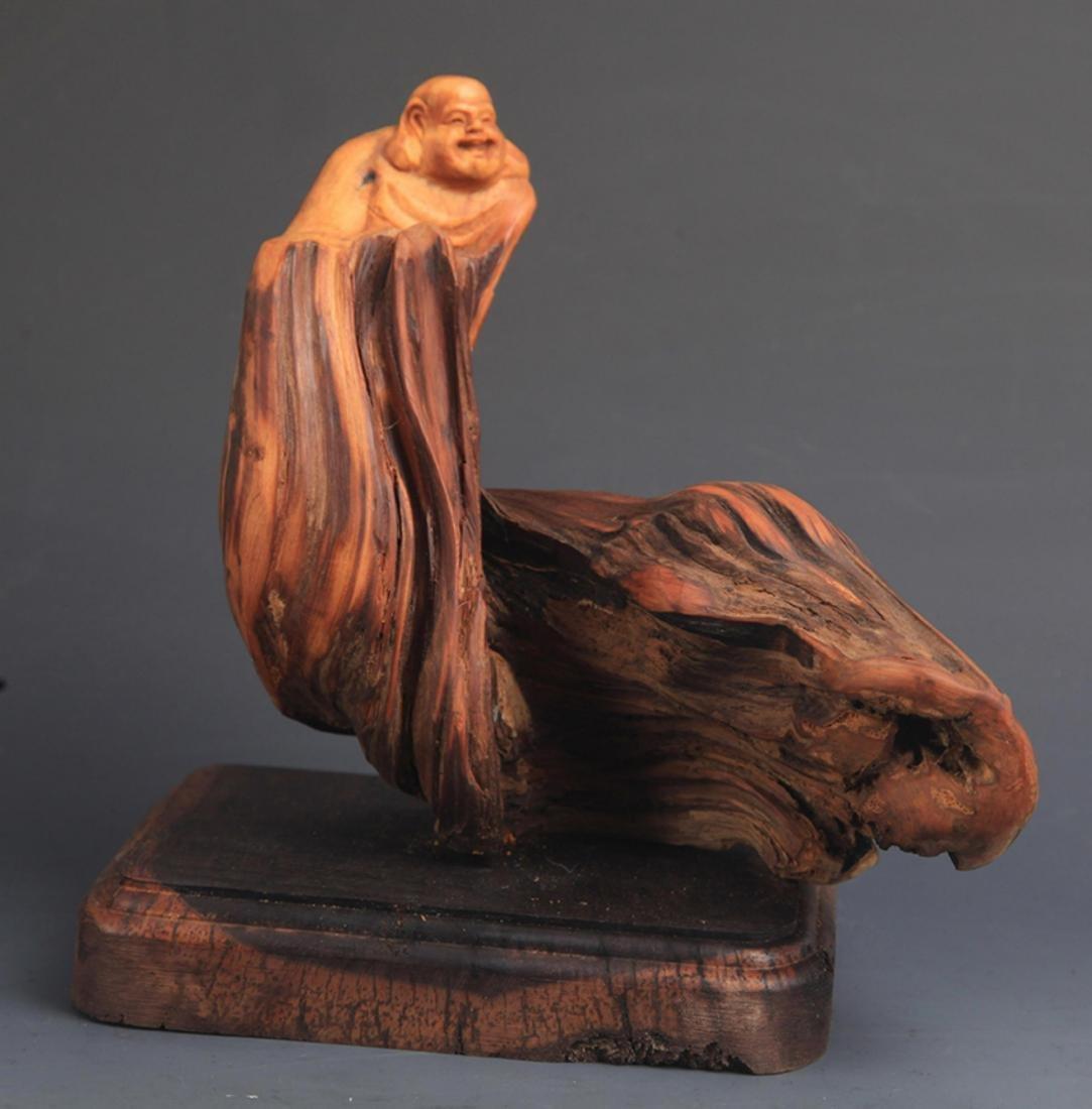 A CYPRESS TREE MAITREYA BUDDHA DECORATION