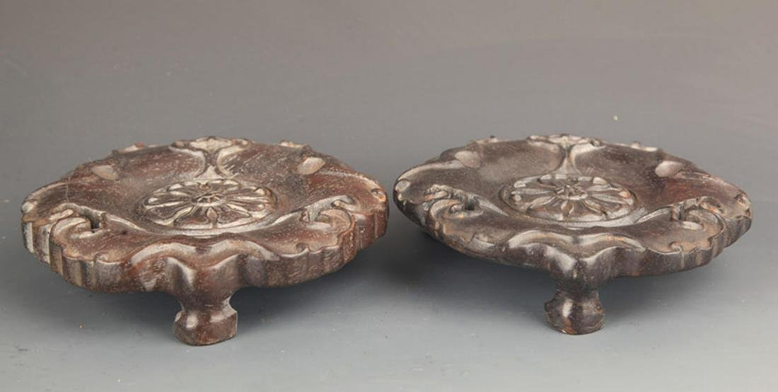 PAIR OF BLACK HARDWOOD RU YI CARVING BASE