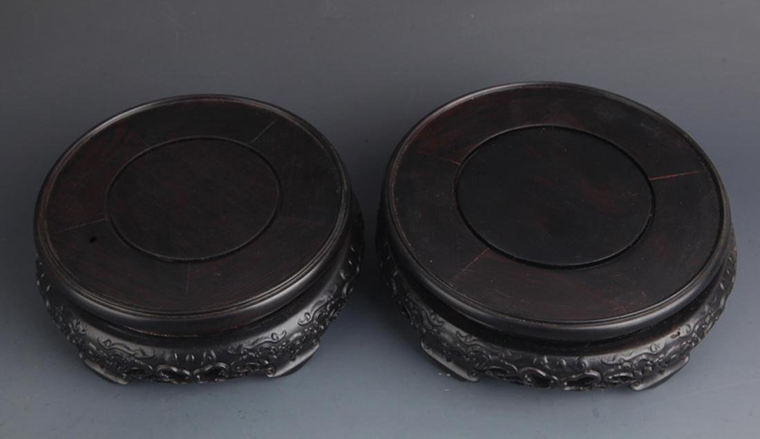 PAIR OF BLACK HARDWOOD DRAGON CARVING BASE