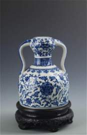 BLUE AND WHITE FLOWER PATTERN RU YI STYLE PORCELAIN
