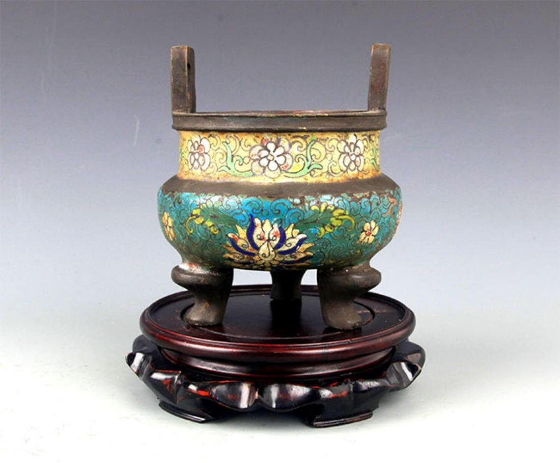 A DOUBLE EAR ENAMEL BRONZE CENSER