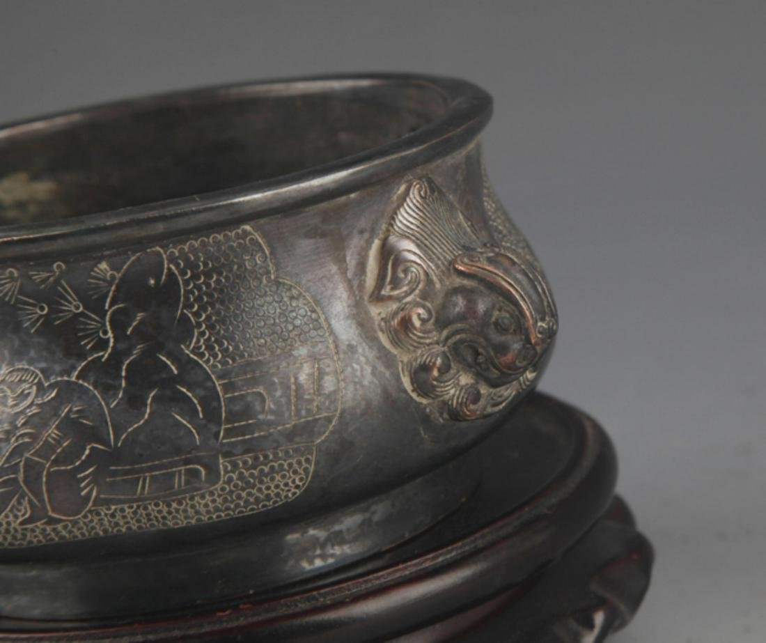 A BRONZE STORY CARVING DOUBLE EAR CENSER - 3