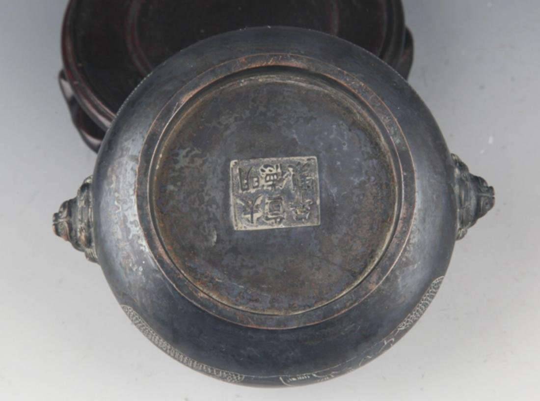 A BRONZE STORY CARVING DOUBLE EAR CENSER - 5