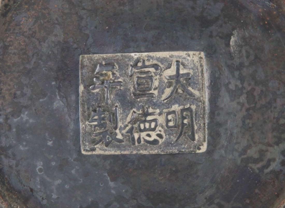 A BRONZE STORY CARVING DOUBLE EAR CENSER - 6