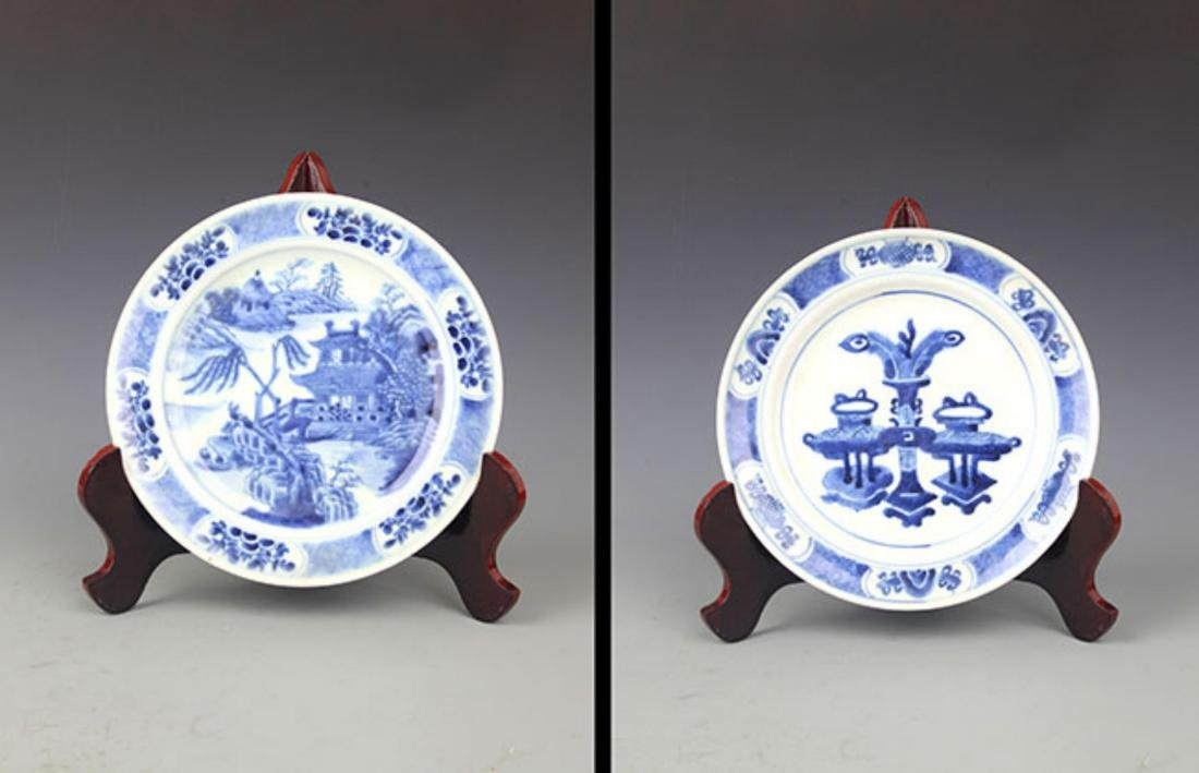 PAIR OF BLUE AND LANDSCAPING WHITE PORCELAIN PLATE